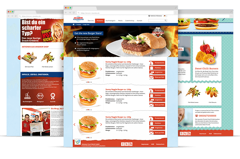 Webdesign Referenz Salomon Food World Screens