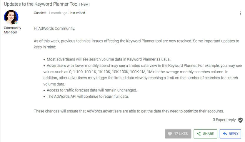 Das Adwords Forum gibt Auskunft warumd er Keyword Planner nicht mehr funktioniert