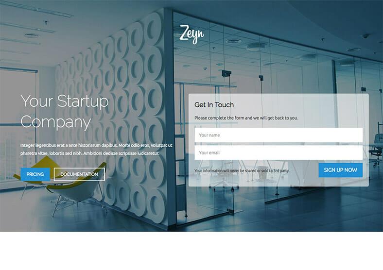 zeyn-startup-landing