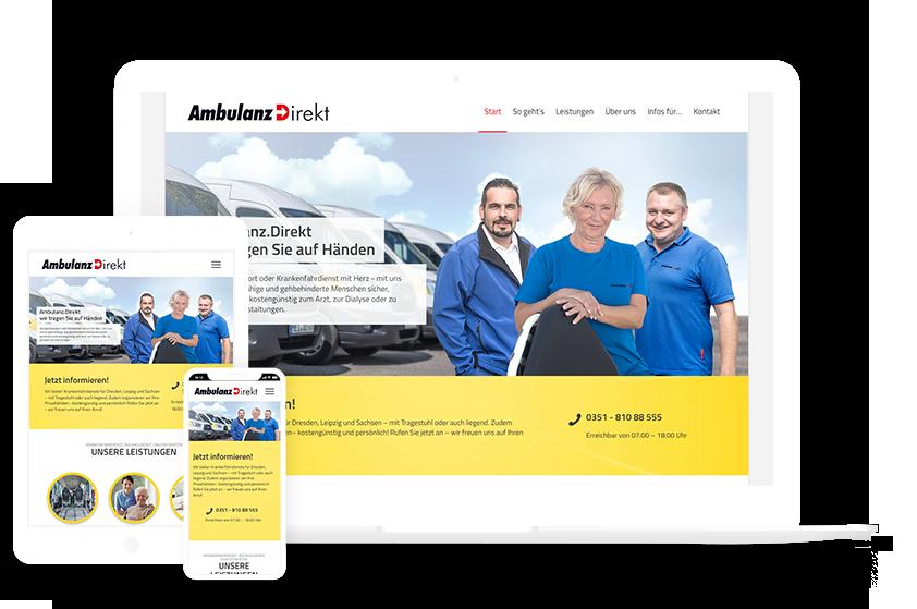 Webdesign Referenzen Ambulanz Direkt Mockup