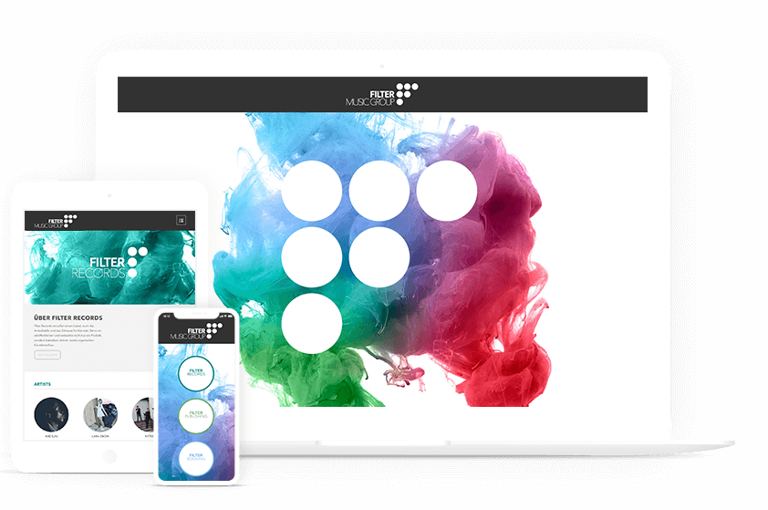 Webdesign Referenz Filtermusicgroup Mockup