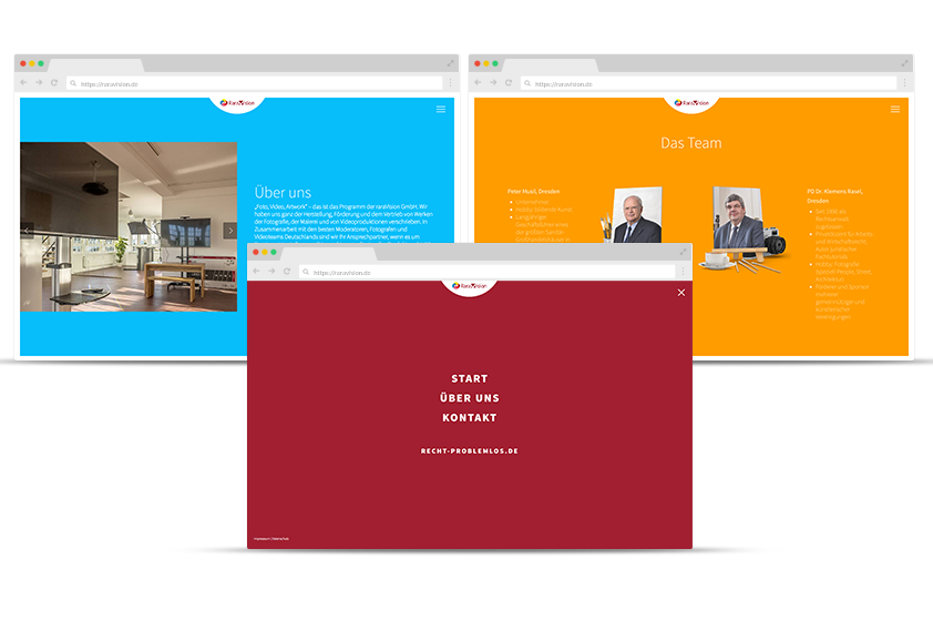 Webdesign Referenz raraVision Screens
