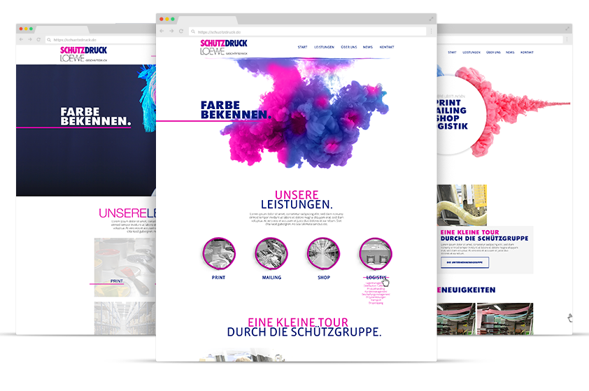 Webdesign Referenz Schützdruck Screens