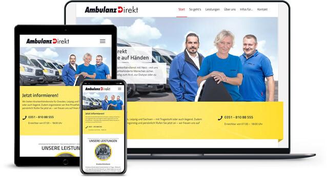 Webdesign Referenz von Ambulanz.Direkt