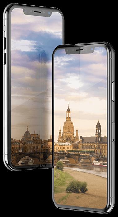 Webdesign Mockup zeigt die Dresdner Skyline