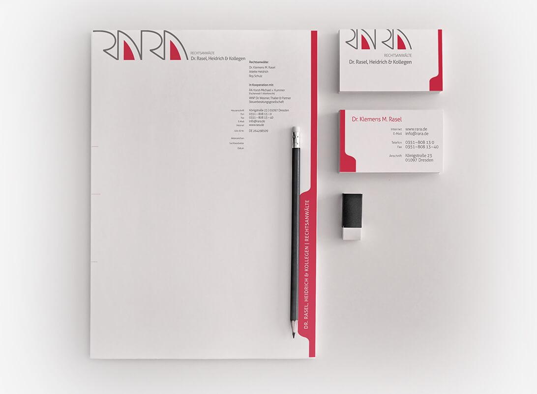 Corporate Design von der Rechtsanwaltskanzlei Dr. Rasel