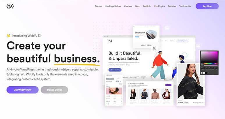 Das Webify Theme ist der NEwcomer bei den TOP WordPress Themes 2020